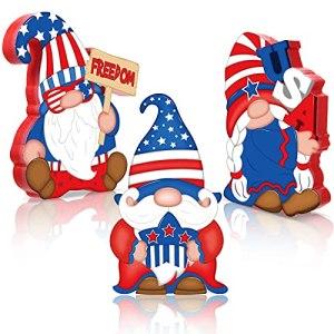 3 Décorations de Fête de l'Indépendance du 4 Juillet Panneaux en Bois de GNOME Patriotique Décorations de Table Autoportantes en Bois GNOME pour America Memorial Day