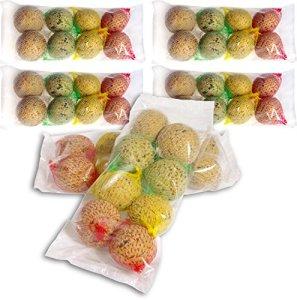 48 Boules de Graisse avec Filet – 4 variétés différentes – Nourriture grasse pour Oiseaux Sauvages – 4320 g