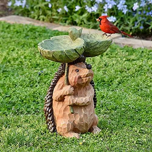 Bain d'oiseau en résine en forme de hérisson, pour le jardin