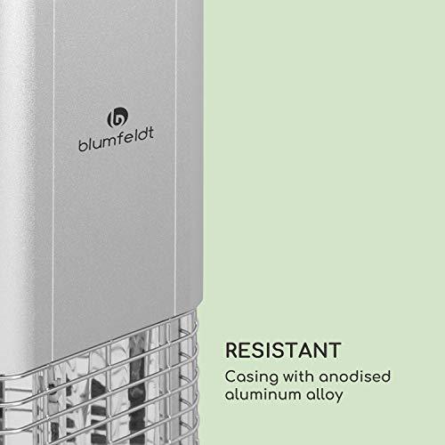 blumfeldt Heat Guru Plus – Radiateur Infrarouge, 2000 W, Oscillation de 60°, Minuterie, Élément Chauffant en Carbone, 3 Vitesses, IP44, Boîtier en Alliage d'aluminium, Télécommande – Argent
