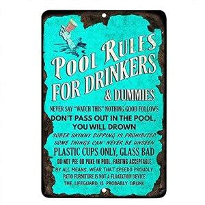 BTSEURY Panneau en métal pour les règles de la piscine, « Pool Rules For Drinkers »