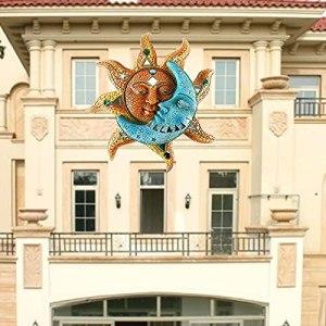 DKLsdfj Artisanat en métal de décoration d'art de Soleil et de Lune, Sculpture créative d'art de Mur de Lune de Soleil, Ornement Suspendu pour Le Porche de Cour de Jardin de Maison