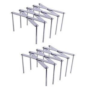 Doriwy Lot de 2 grilles de barbecue réglables pour barbecue, barbecue, barbecue, porte-couvercle, multifonctions, porte-assiettes, gain de place, acier inoxydable, porte-couvercles vertical.