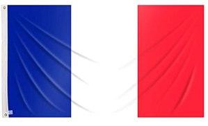 Drapeau de France Grand 90 x 150 cm Drapeaux France balcon pour extérieur renforcé avec 2 œillets métalliques, drapeau français
