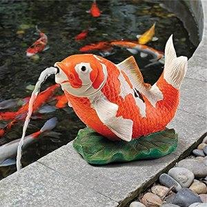 EliteMill Statuette en résine peinte à la main pour carpe – Décoration de fontaine pour jardin et étang