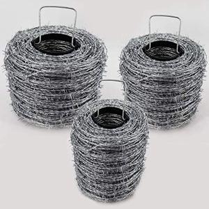 Fil de fer barbelé galvanisé de 100 m I 1,6 / 1,7 mm pour clôtures sauvages, clôtures forestières, nœuds tissés, espacement de 10 cm entre les pointes, fil de lame I 2 fils / 4 pointes