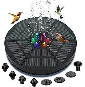 Fontaine solaire avec éclairage LED, Lachesis 2000 mAh Batterie de secours Circle Pompe à eau solaire 3,5 W Fontaine flottante en plein air avec 7 buses pour oiseaux, aquarium, bassin