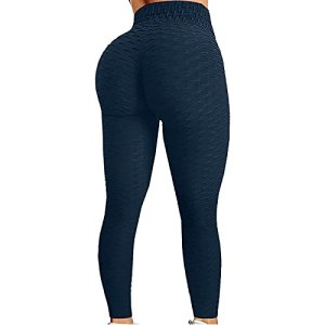 Fulltime® Pantalons de Yoga, Pantalons de Sport, Femmes Bubble Hip Lifting Exercise Fitness Running Pantalon de Yoga Taille Haute (Marine, M)