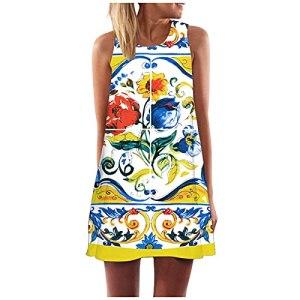 Fulltime® Robe d'été pour Femmes/Femmes Vintage Boho Robe d'été Boho sans Manches Beach Printing Short Mini Robe (Jaune,XL)