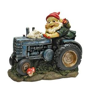 Garden GNOME Statue de jardin Plowing Pete Garden Gnome Tractor – Figurine pour la maison et le jardin (C)