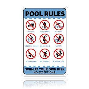 GLOBLELAND Plaque en Aluminium avec Inscription Pool Rules Swim at Your Own Risk No Exceptions d'avertissement 20×30 cm 0.9 mm, UV Protected and Waterproof