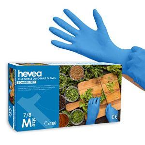 Hevea – Gants en nitrile jetables. Sans talc et sans latex. Lot de 5 boîtes de 100 gants chacune. Taille : M (Moyenne). Couleur : bleu