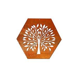 HEXAGON Plaque décorative NR.3 pour étagère à bois de chauffage en métal et acier Corten