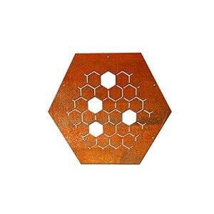 HEXAGON Plaque décorative NR.4 pour étagère à bois de chauffage en métal et acier Corten