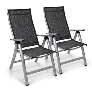 Homeoutfit24 London – Chaises de Jardin Pliante, Dossier Haut, Aluminium, Fabriqué en Europe, Lot de 2 – Argent