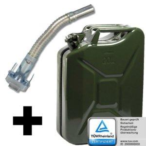 Jerrican Jerrycan de carburant canettes en métal 20 L avec bec verseur flexible 20 l