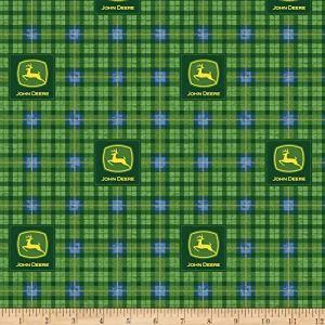 John Deere Green John Deere Tartan Green Fabric by the Yard