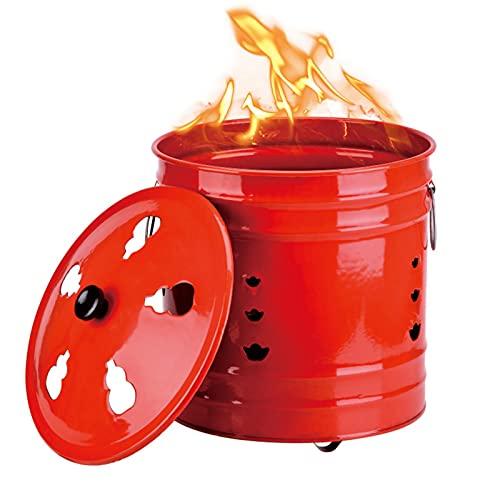 JUNKUN Incinérateur Incinérateur Portable Incinérateur en Acier Inoxydable Rouge avec poignée Incinérateur de déchets de Feuilles résistant aux Hautes températures (10x10in), (18,8×18,8in)
