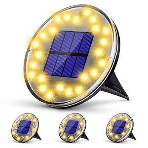 KagoLing Lot de 4 lampes solaires pour allée 2 modes 24 LED IP68 étanches Blanc chaud