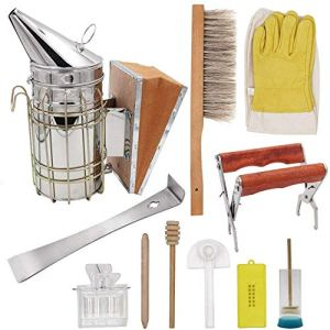 Kit de 11 outils d'apiculture pour fumoir/ruche à abeilles/gants d'apiculteur/cage de reine d'abeilles/pince pour cadre de ruche