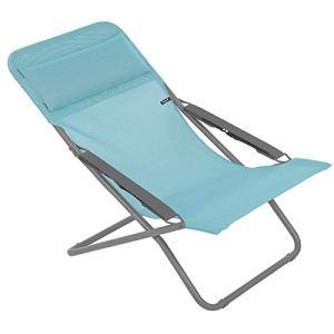 Lafuma Chaise longue, Pliable et réglable, Transabed, Batyline, Couleur: Lac, LFM2863-8553