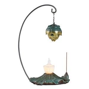Lampe d'encens zen de style chinois, veilleuse créative de rime de lotus simple, décoration de brûleur d'aromathérapie rétro moderne, adaptée au salon, à la chambre à coucher, à la salle d'étude