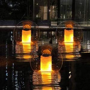 Lampe Flamme LED Lumières Piscine Flottantes Solaires Extérieures, IP68 Étanche Lumières Flamme Solaire LED Flamme Vacillante,Boule Jardin Lumineuse pour Étang Spa Party Patio Chemin Yard Camping-1pcs