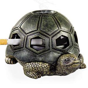 LESES Cendrier d'extérieur avec couvercle en forme de tortue pour la maison, le bureau, le jardin, le porche