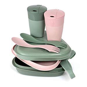 Light My Fire Set Vaisselle Camping – Kit Picnic 2 Personnes – 8 Couverts Camping – Vaisselle Plastique Reutilisable 100% sans BPA – Micro-Onde & Lave-Vaisselle – Couverts Pique Nique Cuisine Camping