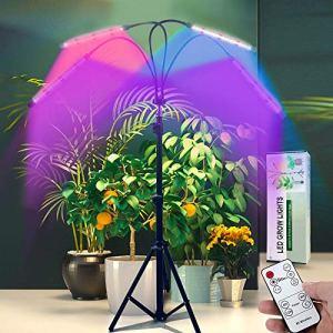 Lumière de culture avec trépied réglable, lampe de plancher à quatre têtes, LED 40 W 10 niveaux à intensité variable avec spectre rouge bleu pour plantes d'intérieur – Minuteur 4/8/12H