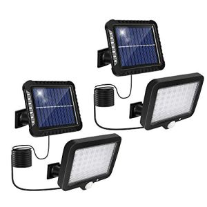 Lumière Solaire Extérieure 2Pcs avec Détecteur de Mouvement, Lumière Solaire de Jardin avec 3 Modes D'éclairage Étanche IP65 Réglable à 120° avec Câble de 5m