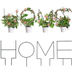 LyhomeO Support de Jardin de Support de Fleur de Treillis – Paquet de 4 Treillis en métal de Forme de Maison pour Les Plantes grimpantes