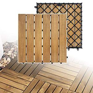 LZQ Lot de 22 dalles en bois d'acacia – 30 x 30 cm – Pour 2 m² – Dalles de jardin avec drainage – Pour jardin, terrasse et balcon – Modèle A – 22 pièces – 2 m²