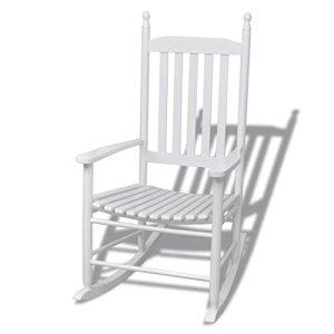 mewmewcat Chaise à Bascule en Bois avec Siège Incurvé Fauteuil Patio Jardin Terrasse 60,5 x 82 x 114 cm (l x P x H) Blanc