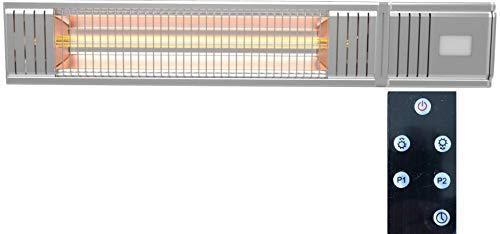 Millarco 58630 Golden-Tube Chauffage de terrasse électrique infrarouge avec télécommande pour montage mural balcon véranda