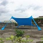 MXXQQ Sunshade De Plage, UPF 50+ Protection UV Abri avec Ancrage De Sable, Sac De Transport Et Tissu De Lycra Résistant À l'usure, Tente De Banc pour 3 À 5 Personnes Homme,Bleu