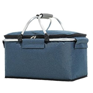 Ohomr Pique-Nique Glacière Portable Isotherme Pliable Lunch Bag Grand Sac du Panier Bleu Marine