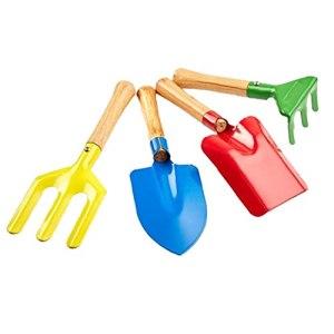 Outils de jardinage pour enfants Kids Beach Sandbox jouets Ensemble Equipements de jardinage Rake Spade Set Metal Wooden Poignée 4pcs