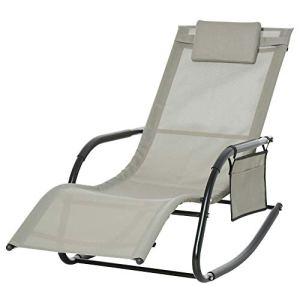 Outsunny Chaise Longue à Bascule – Rocking Chair Ergonomique – tétière Amovible, accoudoirs, Pochette Rangement – métal époxy textilène Gris Clair