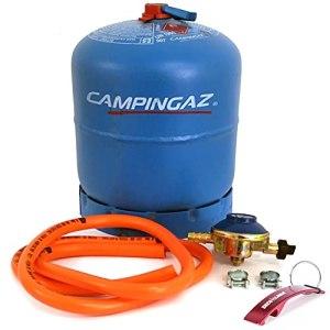 Pack de bouteille de gaz Camping bleu rechargeable R907 + régulateur 30 Mbar + tuyau avec colliers 1,5 m (bouteille de gaz + kit régulateur 30 Mbar)