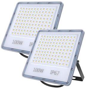 Projecteur LED Extérieur 100W, 10000LM Éclairage de Sécurité Extérieur, IP67 Imperméable Spot LED Extérieur Blanc Froid 6500K Pour Patio, Jardin, Garage, Terrasse, Square, Usine, Entrée, Cour 2PCS
