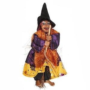 QKP 20CM Halloween Suspendus Accessoires De Sorcière Parlants Animés Contrôle du Son Décoration De Barre KTV – Jaune