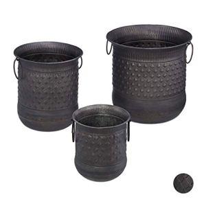 Relaxdays, anthracite Pot set de 3 antiquités bac à fleurs jardinière avec anse vintage en fer