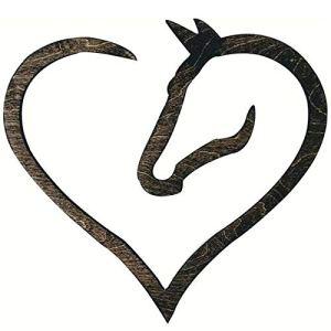 SHOULIAN Les Chevaux laissent des Empreintes de Sabots sur Votre Signe de Coeur, Signe de Coeur de Cheval en Bois – 11 Pouces, décor à la Maison pour Salon Salle à Manger