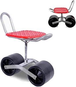 SKYWPOJU Trottinette de jardin avec siège pivotant, 2 roues, siège pivotant réglable à 360 degrés pour le désherbage, le jardinage et l'entretien des pelouses extérieures, chariot de jardin avec siège