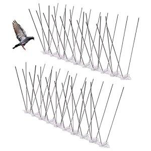 SZM09P1 Pointes d'oiseaux en Acier Anti Pigeons Oiseaux Répulsif pour Oiseaux Anti-Corbeaux pour Chats Moineaux Corneilles Rebords de Fenêtres Toits Balcon Jardin Gouttière de Fenêtre 25cm 2 Pièces