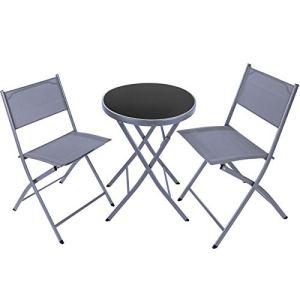 TecTake 800811 Salon de Jardin 2 Personnes Ensemble Meuble de Balcon Set de Bistrot 1 Table Ronde 2 Chaises Pliantes – Diverses Couleurs (Gris)