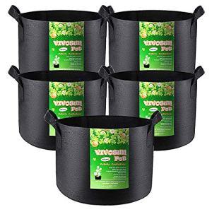VIVOSUN Lot de 5 sacs de culture pour plantes – 45 litres – En tissu non tissé épais et résistant – Avec poignées