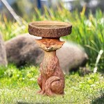 woyada Bain d'oiseaux en résine en forme de renard debout – Décoration pour jardin
