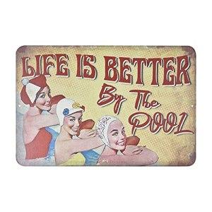 xiaomin Panneau décoratif en métal pour piscine – 30 x 20 cm